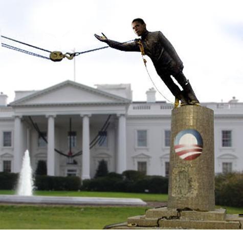 Obama statue torn down